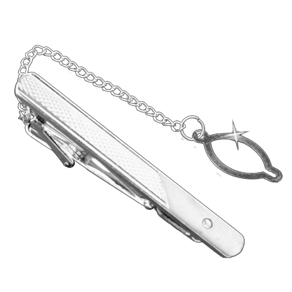 MGStyle Tie Bar Pinch Clip with Link Chain For Men - 2.36 Inch For Regular Ties - Silver Tone - Rhinestone & Metal Alloy with Deluxe Gift Box