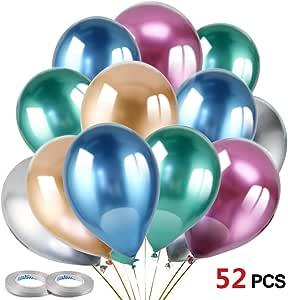 HOWAF 50pcs 12 Pulgadas Globos Metalizados, Metalicos Globos de látex Colores Globos de Helio para Fiestas, Boda, Baby Shower, cumpleaños Decoracion: Amazon.es: Juguetes y juegos
