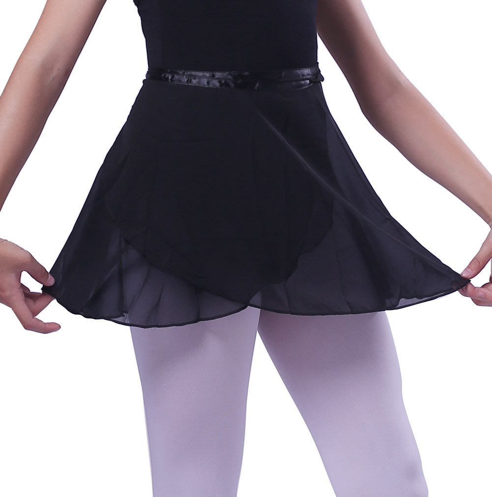 woosun Girls Ballet Wrap Skirt Kids Dance Skate Over Scarf Tutu Skirts Chiffon 32cm Length (Black)