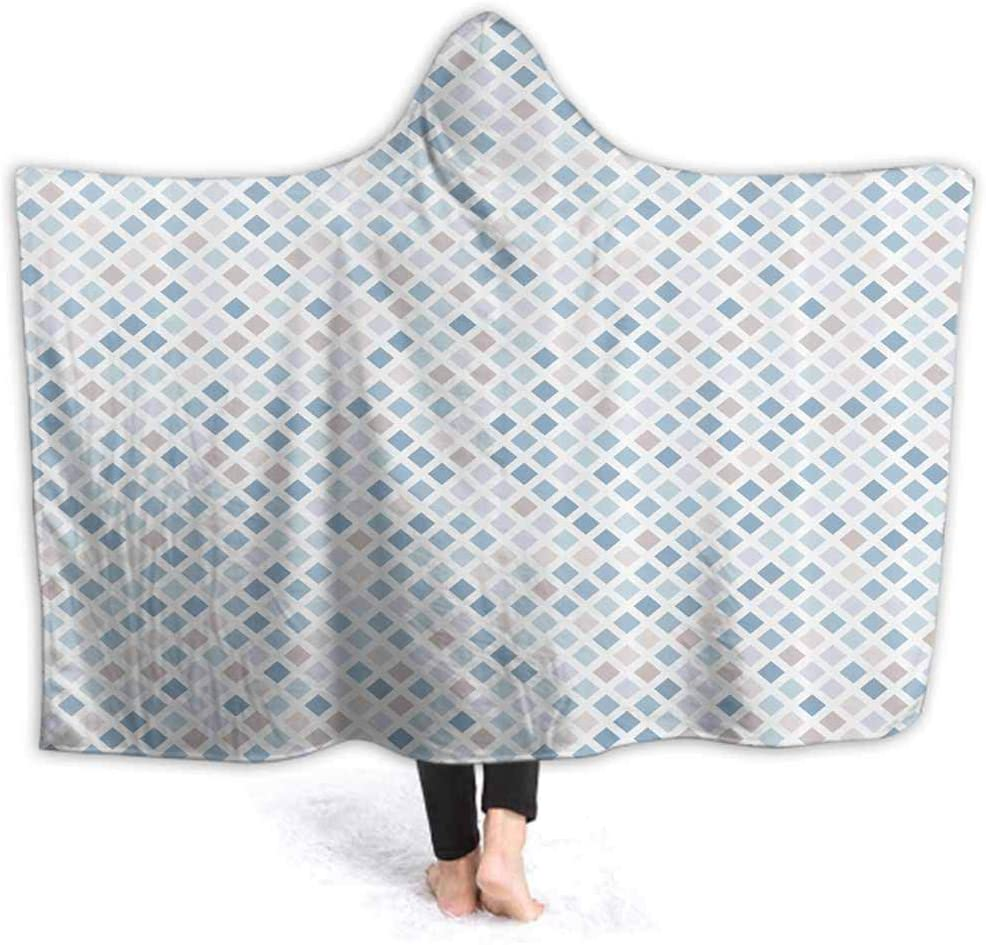 prunushome Hooded Blanket Geometric Fractal Diamond Soft Throw Wrap Wearable Blankets Novelty Cape for Kids Adults 50W by 40H Inches(with Hooded)