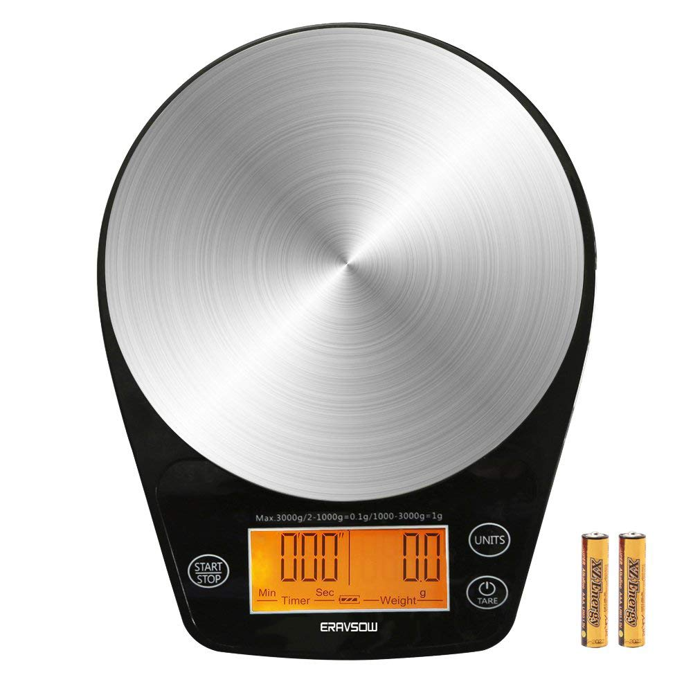 ERAVSOW Digital Hand Drip Coffee Scale Stainless steel precision sensors Kitchen Food Scale With Timer Weight LCD Display & Hanger Hole 6.6lb/3kg Black Batteries Include by ERAVSOW