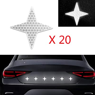 20x High Intensity Grade Reflective Safety Warning Tapes Stickers Self-Adhesive for Car Truck Motorcycle Bike Trailer Camper Helmet Fence Bags Four-Pointed Star Shape White: Automotive
