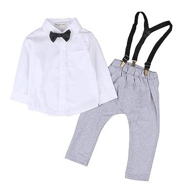 Frecoccialo Costume Bébé Garçon Mariage 2 PCs Ensemble Chemise Blanc et  Combinaison Barboteuse Gris Vêtement Baptême e707a111044