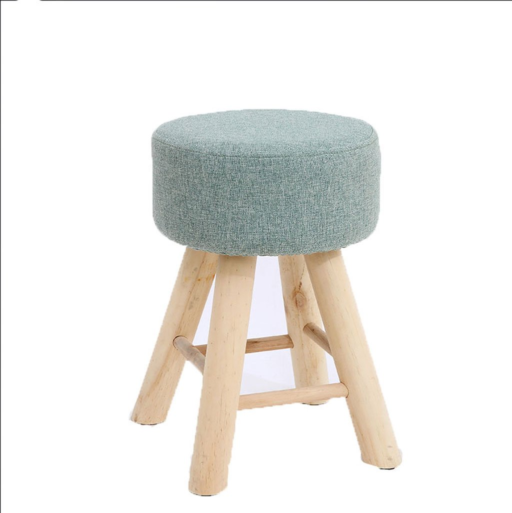 B Qwer Stool Stool Wooden Foot Linen Solid Wood Simple Modern Household Makeup (color   GREEN)