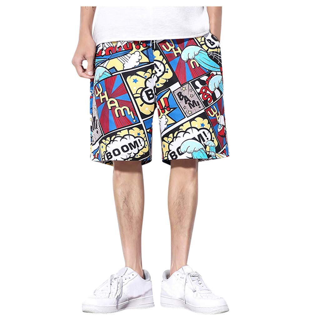 Beach Shorts for Men Plus Size Elastic WAIS Drawstring Summer Casual Trend Loose-Fitting Five-Cent Straight Pants