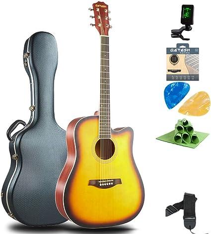 Boll-ATur Chapa Guitarra acústica Principiante Estudiante Guitarra de madera Estuche de guitarra Sintonizador Cuerda Selecciones de guitarra Regalo de vacaciones Guitarra Panel de abeto: Amazon.es: Instrumentos musicales