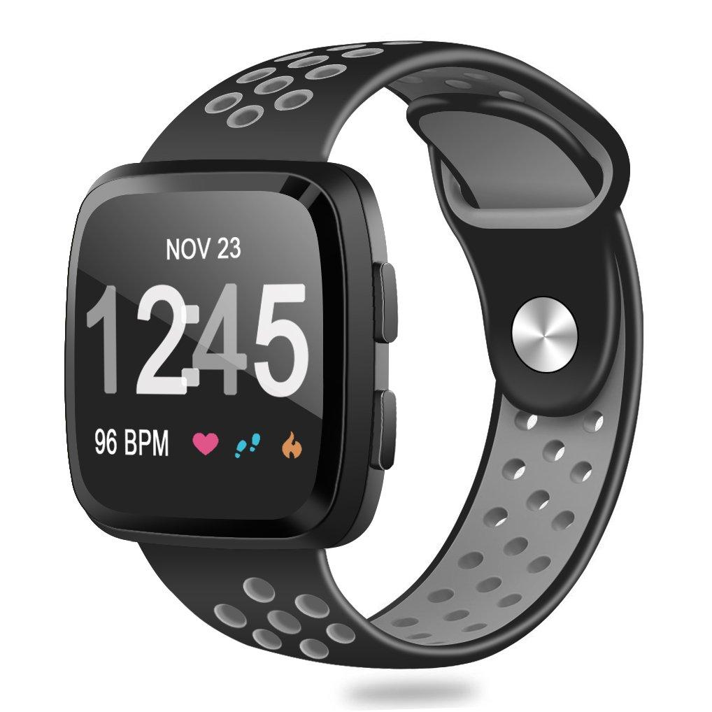 For Fitbit ALTAアルタHR、帯、Humenn交換用ミラネーゼループステンレススチールメタルバンドFitbit ALTAアルタHR / B07CKVHJXF Small #,Black/Gray #,Black/Gray Small