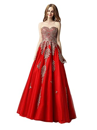Angel Formal Dresses Womens Sweetheart Appliques Beaded Prom Dress Ball Gown(2,Red)