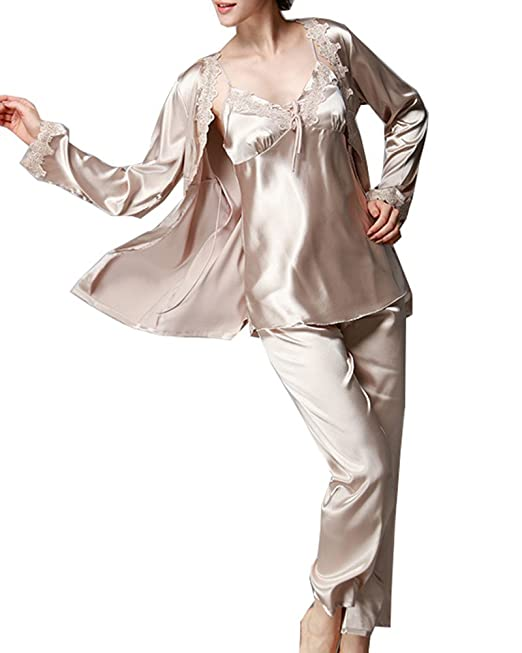 Pijamas para Mujer, 3-in-1 Mujer Camisones, Satén Manga Larga y