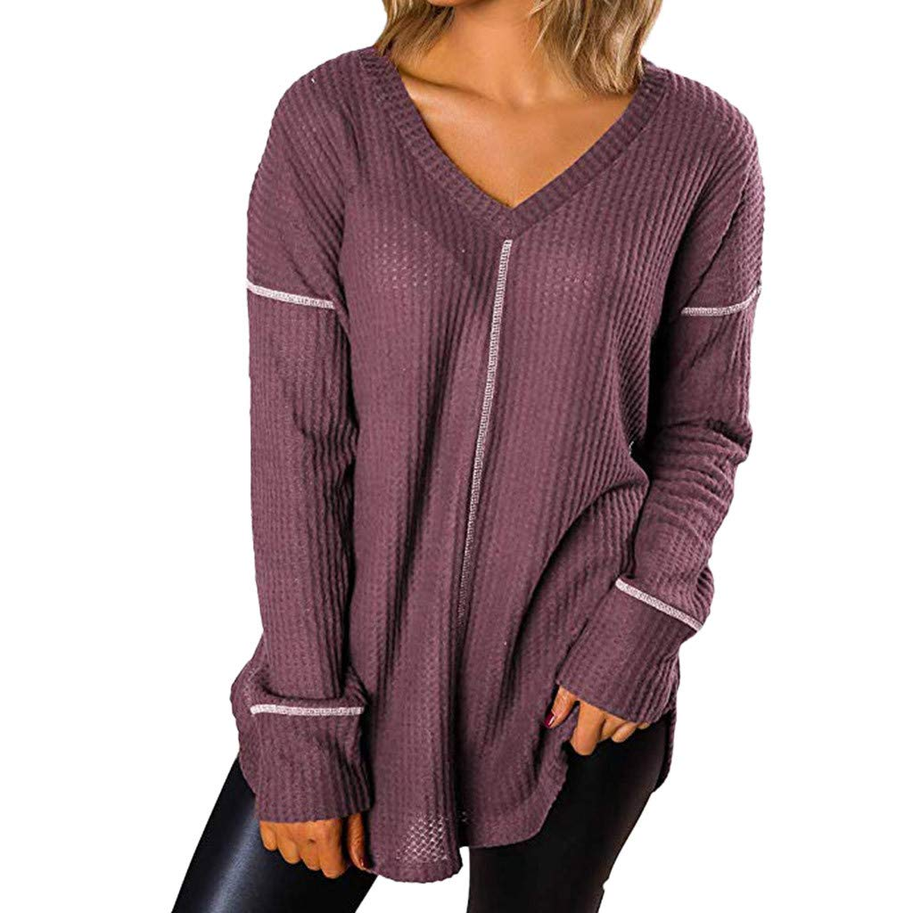 AOJIAN Blouse Women Long Sleeve T Shirt V-Neck Loose Sweatshirt Tees Sweater Shirts Tops Purple by AOJIAN (Image #2)