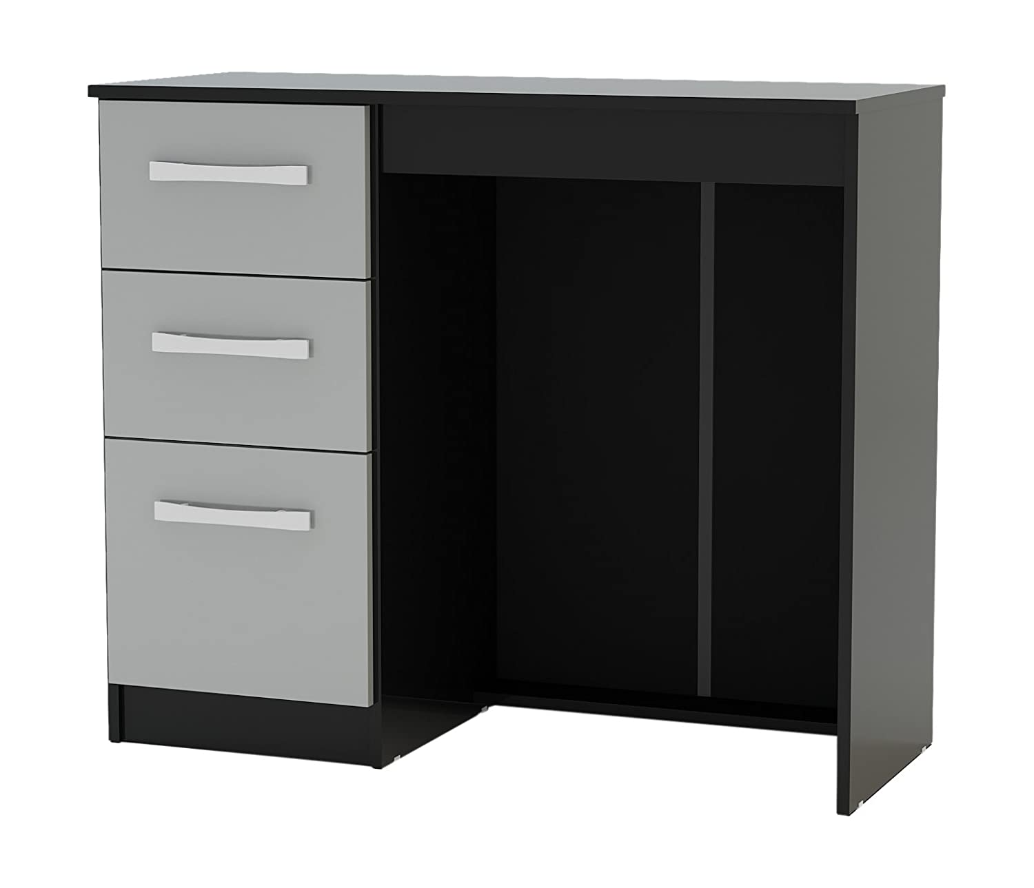 Birlea Lynx Drawer Dressing TableDesk HighGloss Black And - Black gloss dressing table