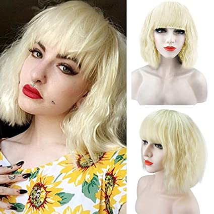 M-Egal Fluffy Short Wig Blonde Synthetic Curly Short Hair Wig Many Colors For Choose brown