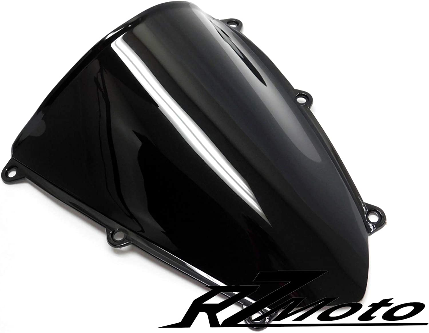 RZMoto ABS Plastic Injection Black Smoke Double Bubble Windscreen Windshield With 5mm Black Wellnut Bolt Kit for 2001 2002 2003 2004 2005 2006 Honda CBR600 F4i