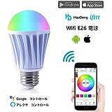 HAODENG WiFi スマートLED RGBW電球 ワイヤレスタイミングスマート 調光調色モードライト WiFi操作 非常灯 Alexa &Google Home&IFTTT(色彩調節 光るさ調節 70W白熱電球相当)