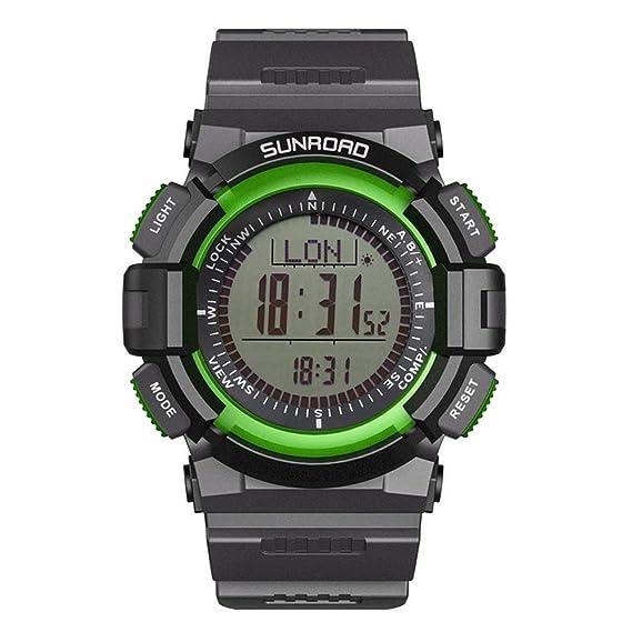 SUNROAD Relojes de Deporte de los Hombres de Moda Impermeable Brújula Digital Barómetro Altímetro Reloj de Pulsera con luz de Fondo: Amazon.es: Relojes