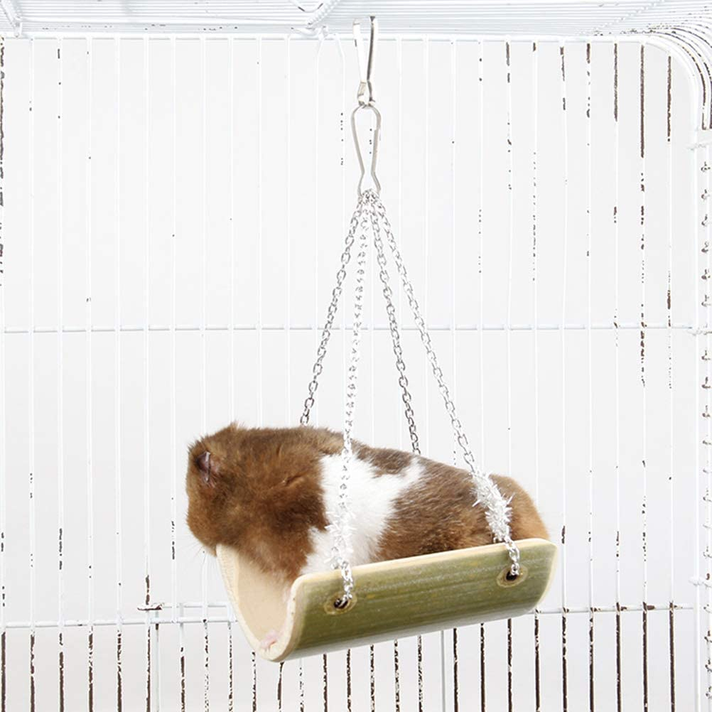 9x7CM Gerbil and Dwarf Hamster,Chinchilla Swing POPETPOP Hamster Swing Toys-Natural Bamboo Wooden Hanging Toys with Hanging Chain for Mouse Rat Chinchilla