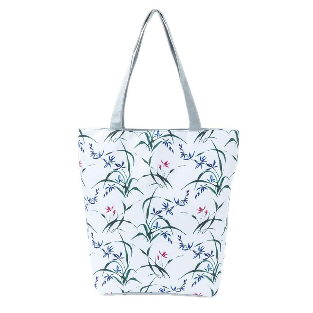 Showinda Leaves Print Tote Handbags Women Canvas Beach Bags Floral Design 1272a by Showinda (Image #1)