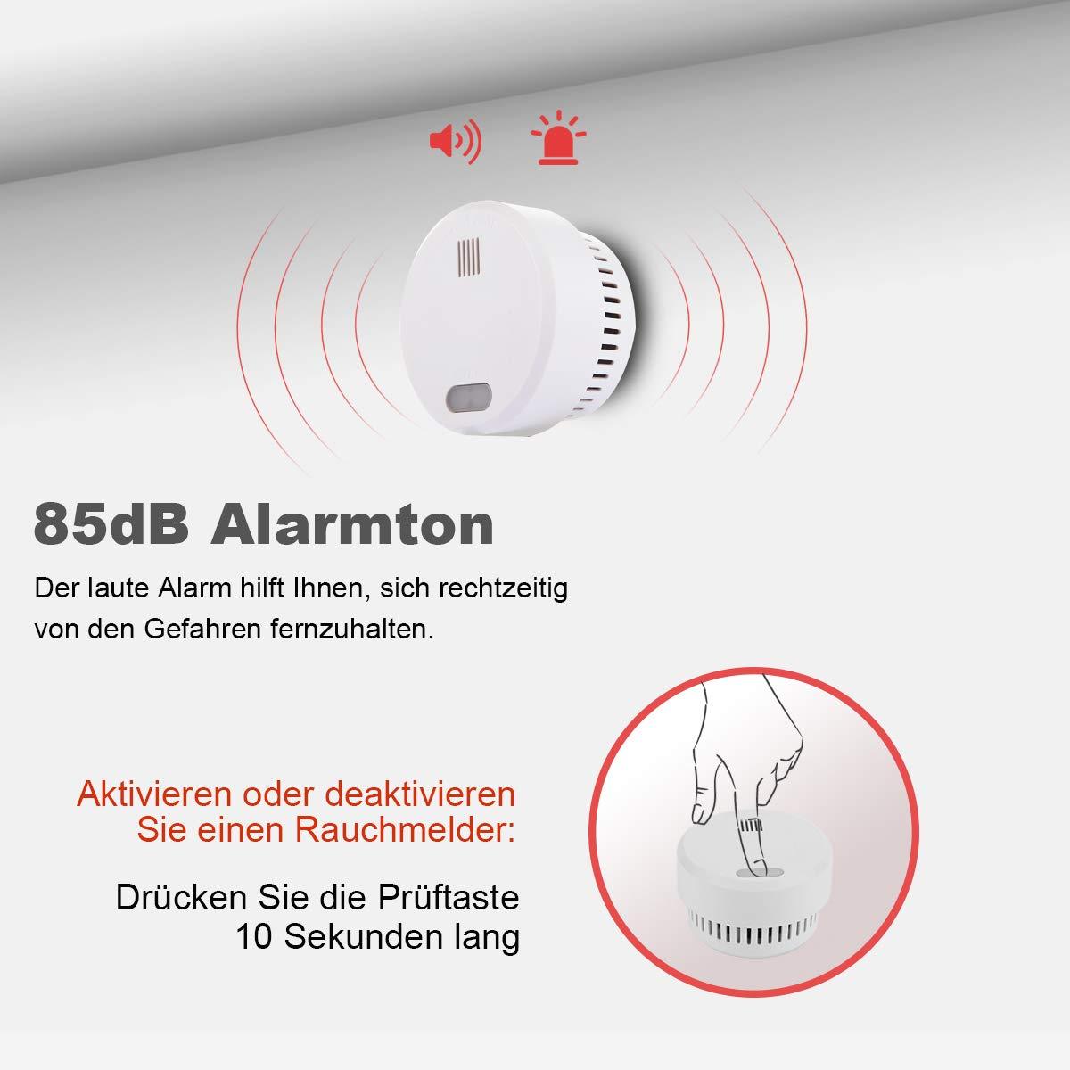 SM02 Ecomono Independiente Alarma de Humo para Cocina//Dormitorio//Oficina//Hogar//Garaje Sensor Fotoel/éctrico 85dB Certificaci/ón CE EN14604 Detector de Humo