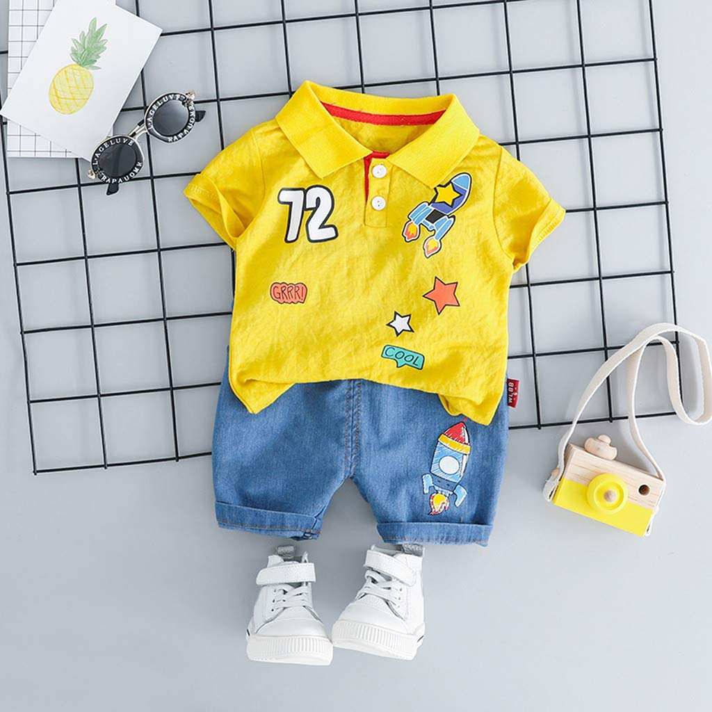 Fabal Toddler Baby Kids Boys Rocket Tops T-Shirt Stripe Short Pants Casual Outfits Yellow