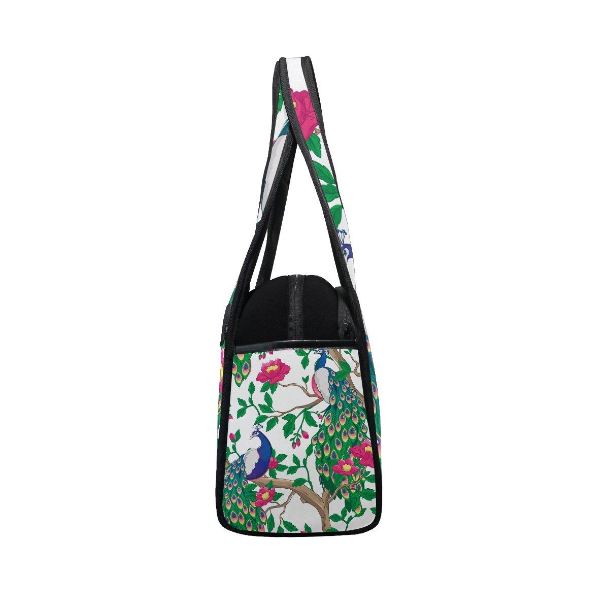 AHOMY Canvas Sports Gym Bag Peacock Branches Flower Travel Shoulder Bag