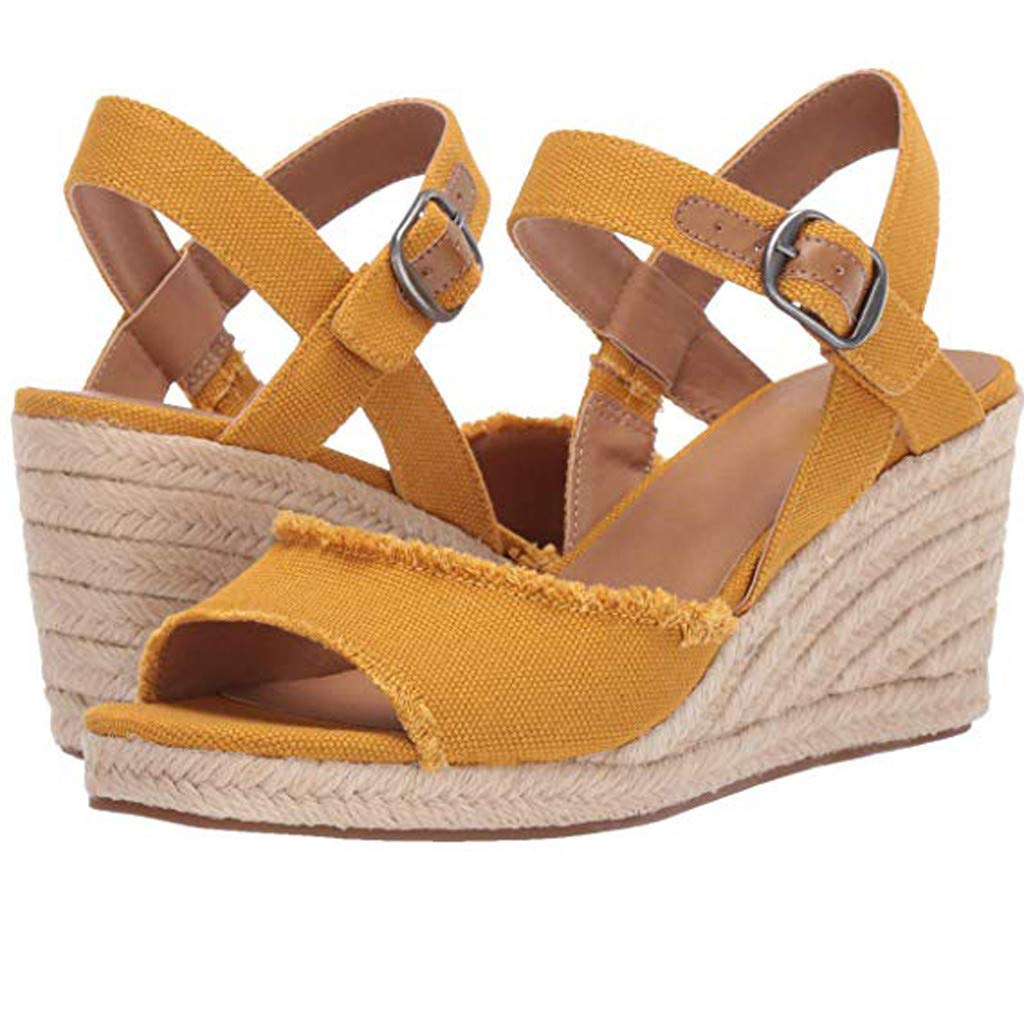 Zlolia Women's Solid Color Wedge Sandals Open Toe Ankle Adjustable Strap Heeled Rubber Sole Espadrilles Upper Yellow by Zlolia-Women Slippers