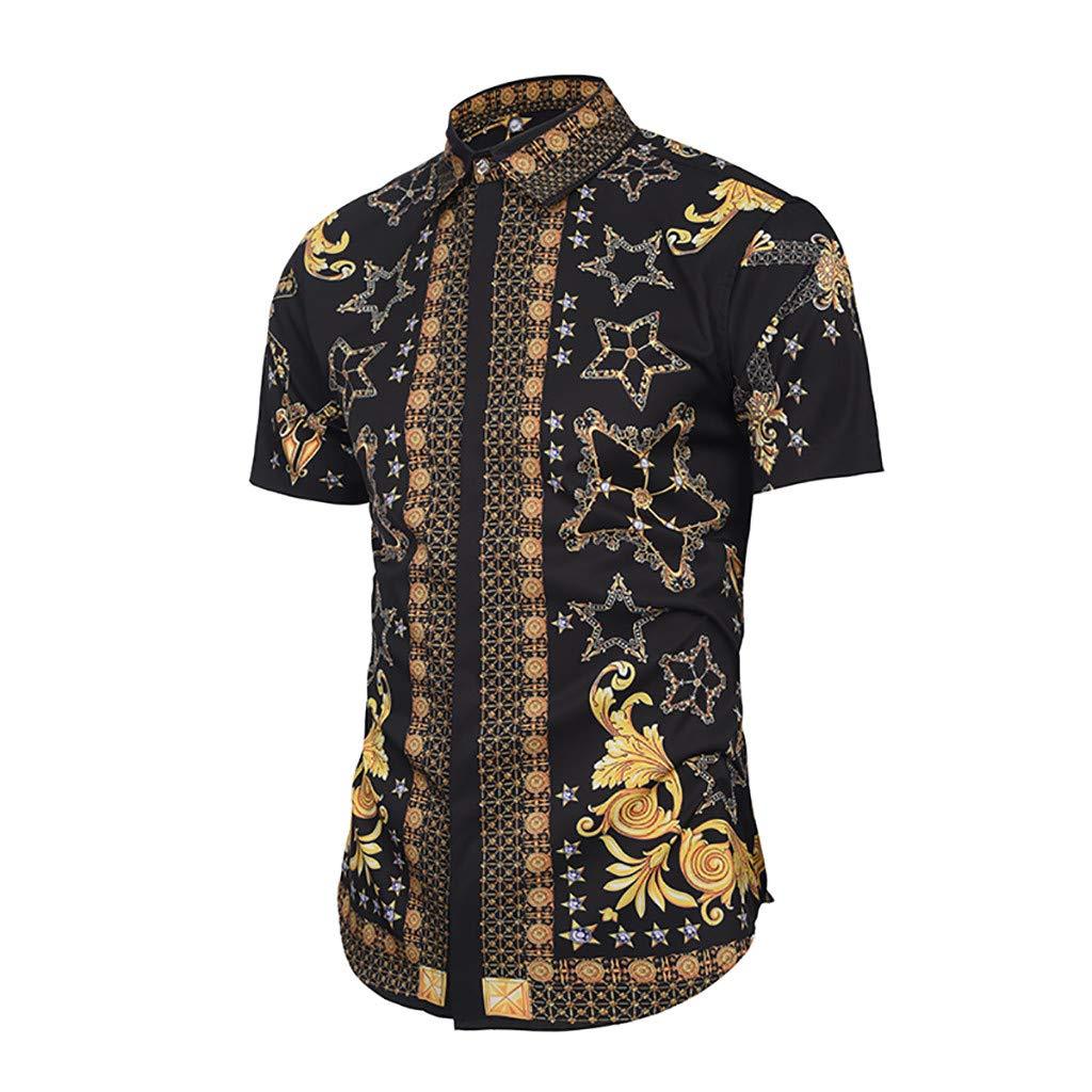 Men Hawaiian Shirt-Short Sleeve Button Down Hawaiian Aloha T-Shirt Front Pocket Beach Floral Printed Tee Top