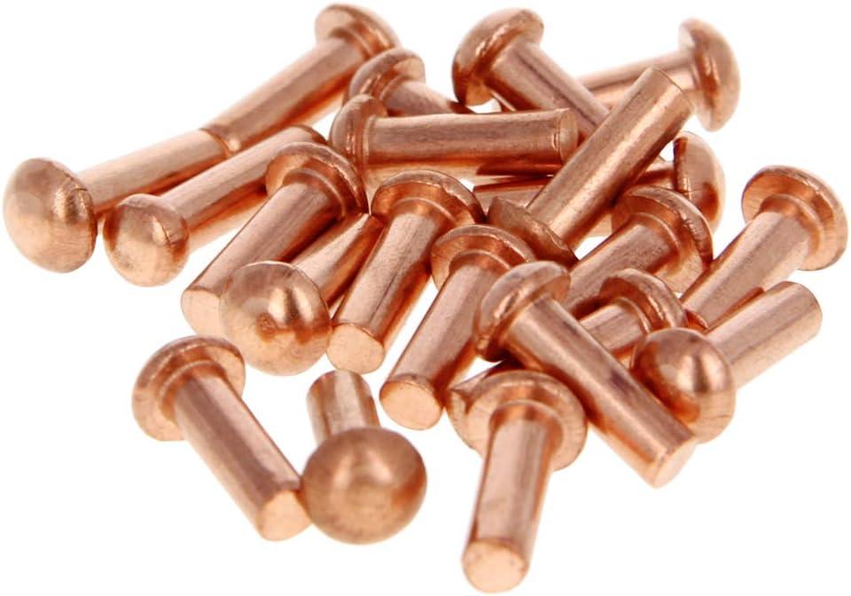 MroMax Head Diameter 3.5mm Shank Diameter x Length 2mm x 10mm Copper Round Head Solid Rivets Fasteners 100pcs