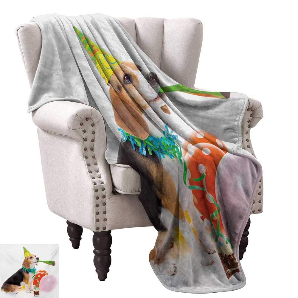 color02 70 Wx93 L WinfreyDecor Kids Birthday Living Room Bedroom Warm Blanket Baby Owl Bird Party Cupcake Tasty Creamy Cake on colorful Polka Dots Backdrop Home, Couch, Outdoor, Travel Use 60  Wx60 L Multicolor