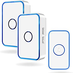 Wireless Doorbell, kelodo Mini Waterpoof Door bell Chime Operating at 1000 Feet with 60 Melodies, 5 Volume Levels & LED Flash,1 Remote Buttons & 2 Receiver,White