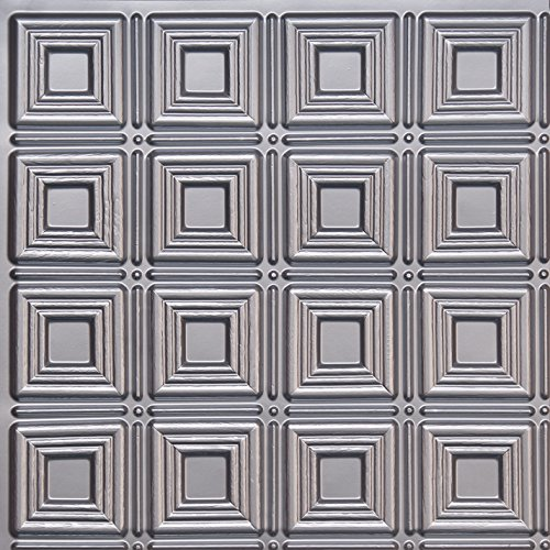 ceiling tile D153 Silver Pack of 10 24 x 24 PVC ()