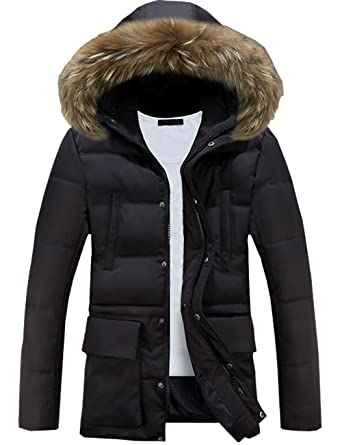 95fcf9d250d Glestore Mens Winter Coat Jacket MY0903 Detachable Fur Hood Parka  Amazon.co .uk  Clothing
