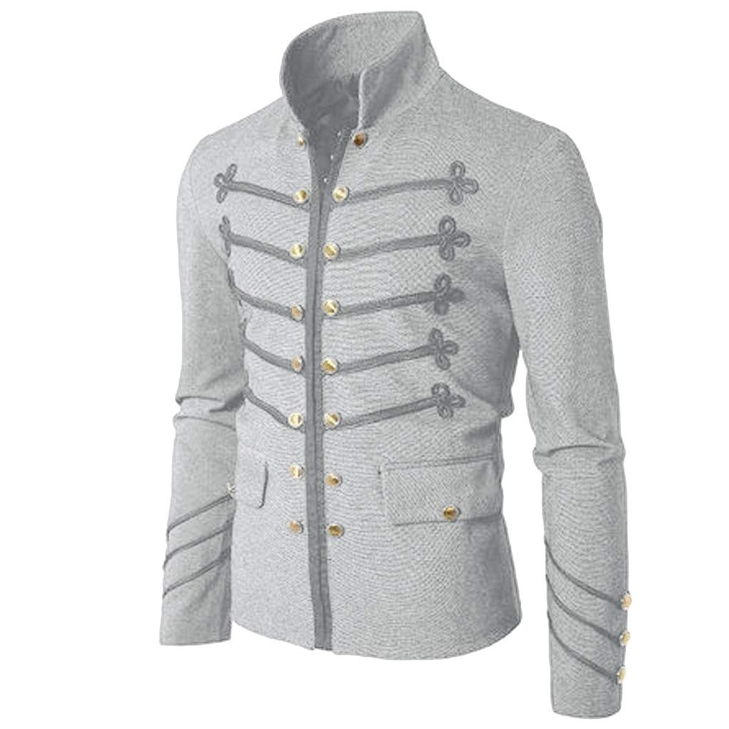 Men Gothic Vintage Jacket Double Breasted Formal Gothic Victorian Coat Costume (5XL, Gray 2) by Yihaojia Men Blouse