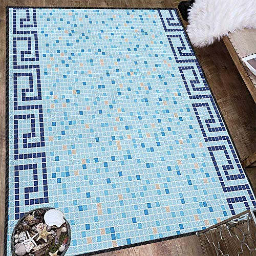 Aqua Graceful Area Rug,Antique Greek Border Mosaic Tile Squares Abstract Swimming Pool Design Carpet for Children Home Decorate Pale Blue Navy Blue Beige 63