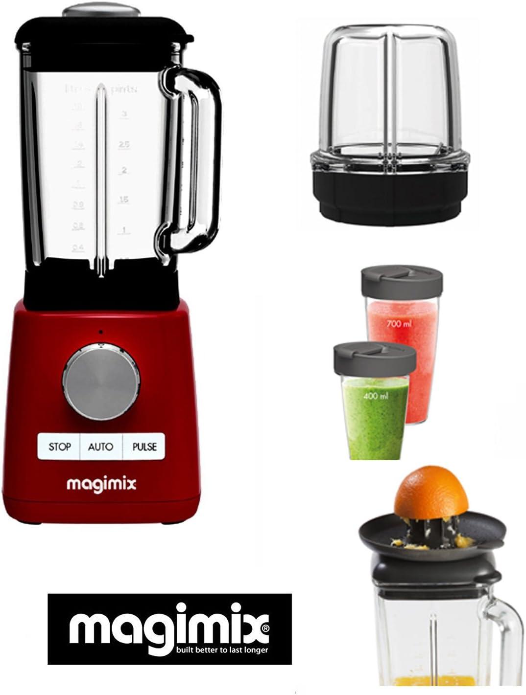 Magimix Power Batidora -Blender rojo new 1300-22000 rpm (+ 3 ACCESORIOS OPCIONALES : : mini vaso, esprimidor - blender cup)