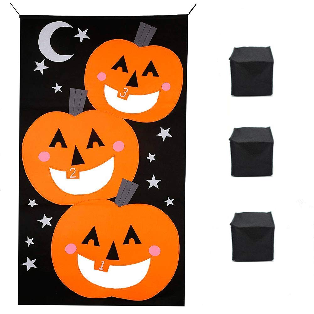 Alasida Halloween Pumpkin Bean Bag Toss Games + 3 Bean Bags Halloween Games for Kids Party Halloween Decorations,30 x 54 inches
