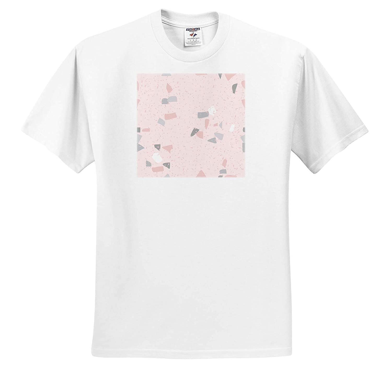 Adult T-Shirt XL 3dRose Uta Naumann Watercolor Pattern ts/_319707 Trend Faux Terrazzo in Pink with Gray and White Spots