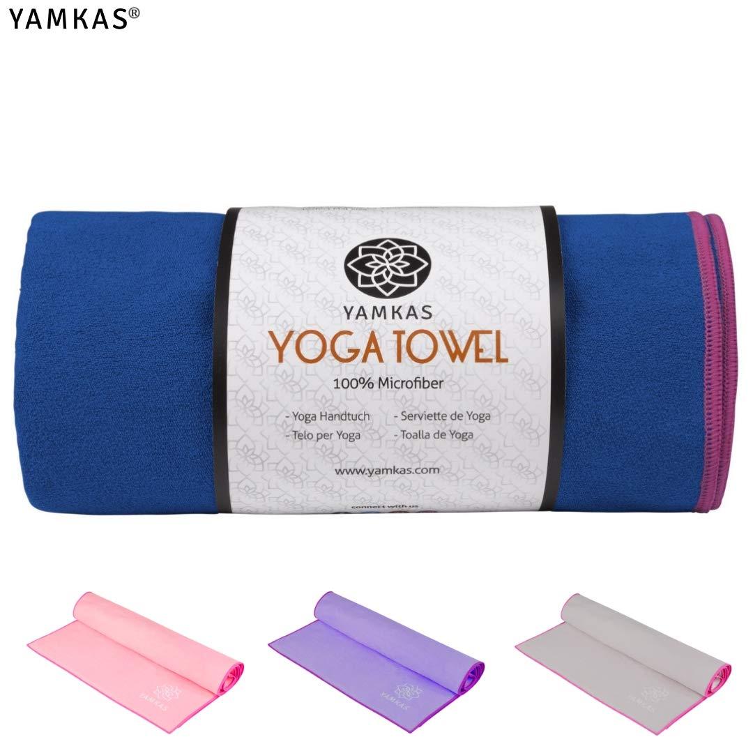 Yamkas Toalla Yoga Antideslizante | 183 x 61cm | Toallas Pilates Microfibra para Esterilla de Yoga | Hot Yoga Towel para Bikram, Ashtanga | Azul