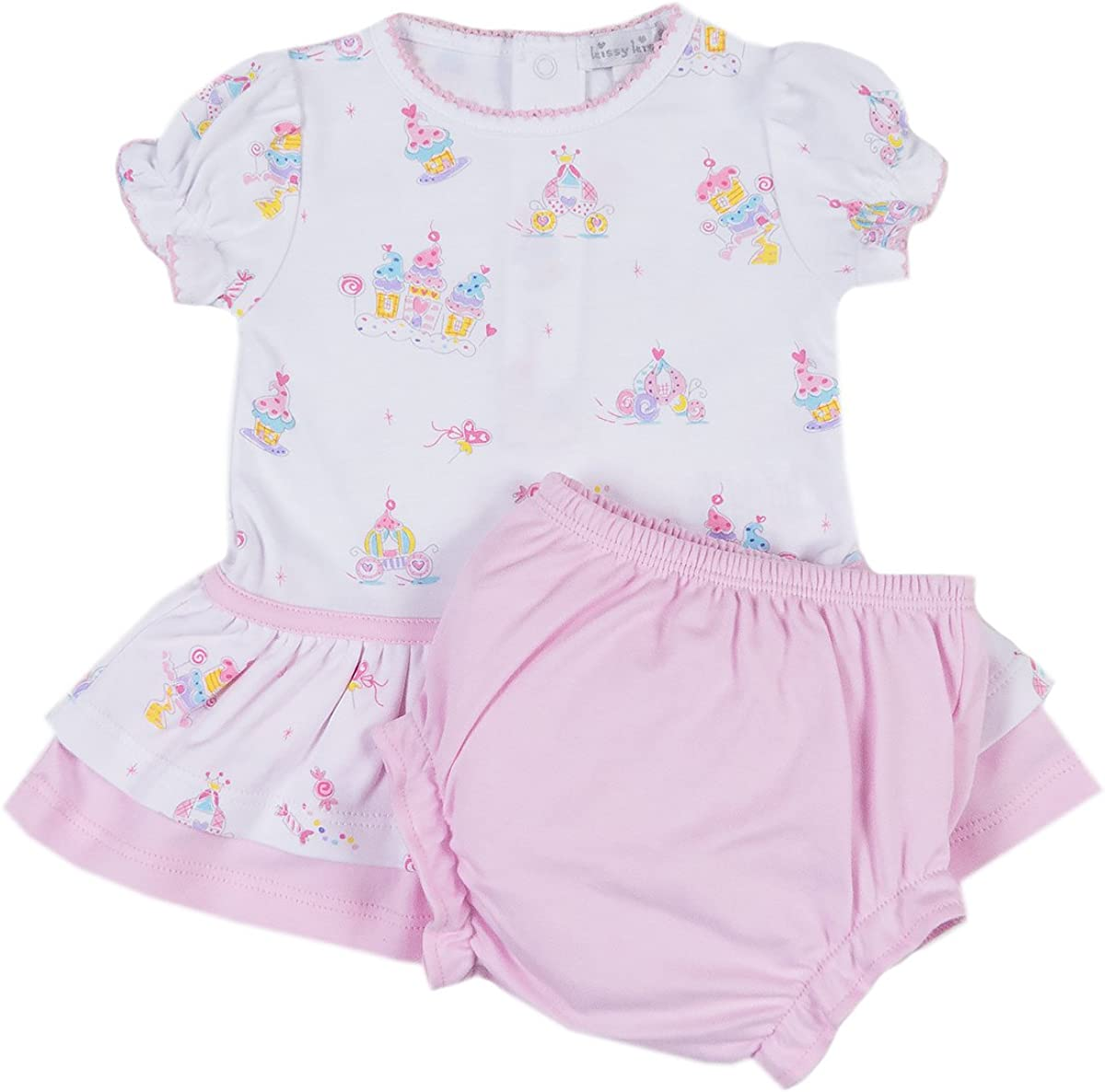 Kissy Kissy Baby Girls Candy Castles Print Dress with Diaper Cover