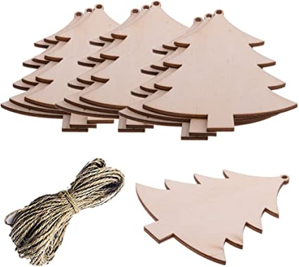 10pcs Unfinished Wood Hollow Tree Shape Christmas Tree Ornament Gift Tags