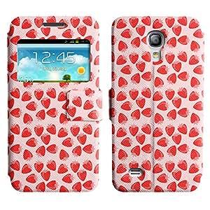 Be-Star Diseño Impreso Colorido Slim Casa Carcasa Funda Case PU Cuero - Stand Function para Samsung Galaxy S4 mini / i9190 / i9192 ( Red Strawberry )