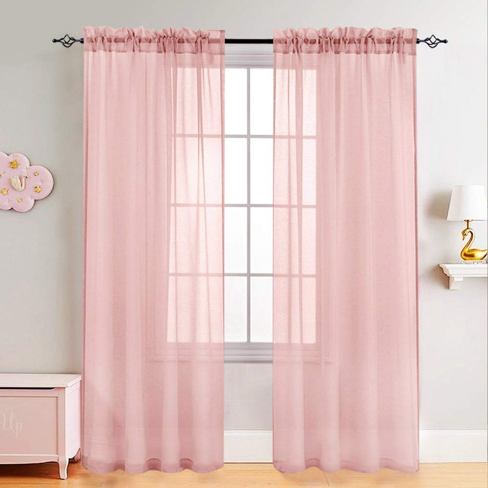 Girl\'s Room Sheer Curtains Pink 95 inches Long for Bedroom Sheer Curtain  Panels for Living Room Voile Drapes Window Treatment Set 2 Panels