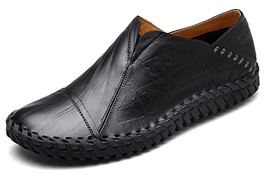 Men's Trendy Leather Snake Patterned Round Toe Low Top Slip on Flats Moccasins Shoes Loafers