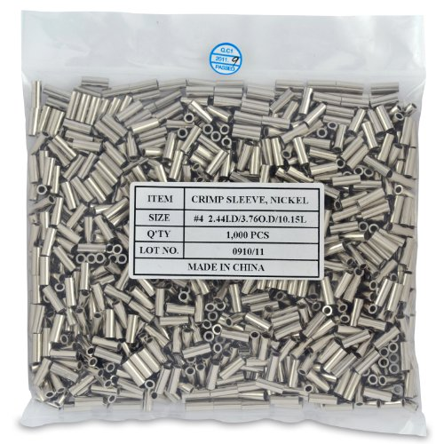 Surflon Size 4-1000-Piece Picture Wire Crimping Sleeves, -