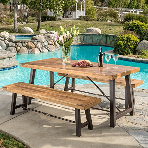 Outdoor Puerto Acacia Wood 3-piece Picnic Dining Set by Christopher Knight Home (Bench Wood Acacia)