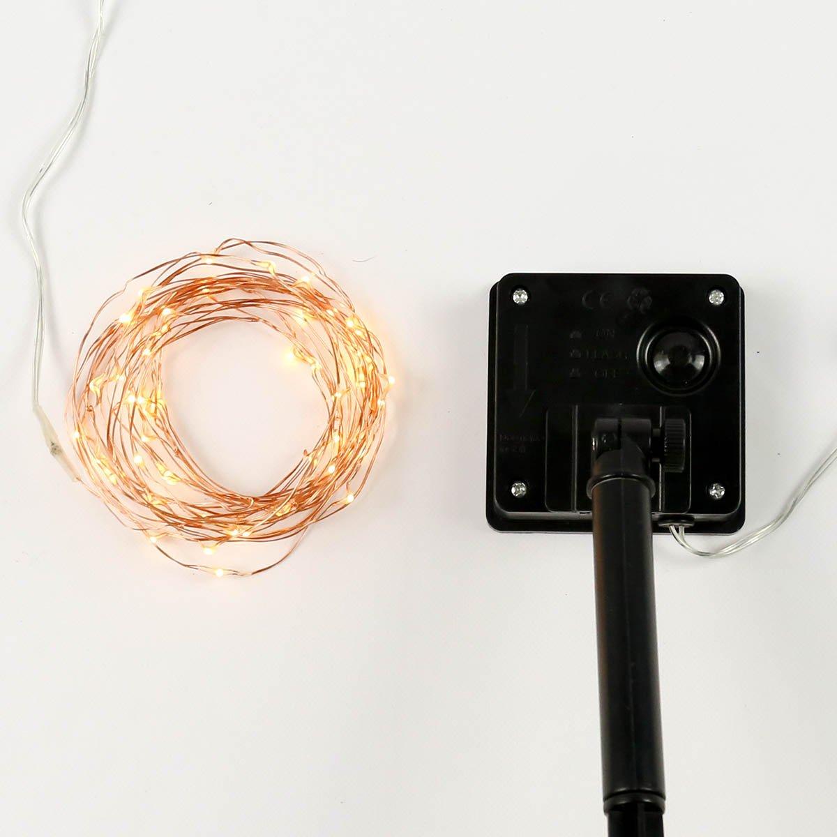 Solar Außen Kupfer Mikro Draht Lichter, 50 LEDs warmweiß, 5m, von ...