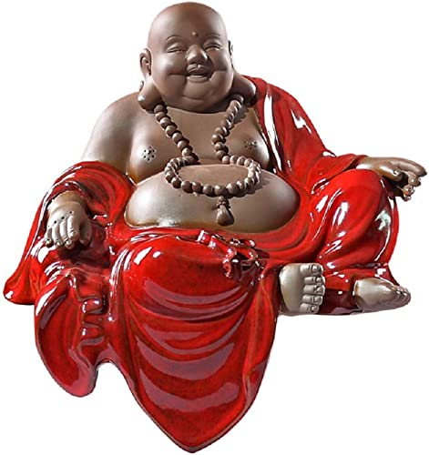 Creative Buddha Statues,Adorable Smart Monk Figurines Sculpture Clever Craftsman Handicrafts Fesitval Red