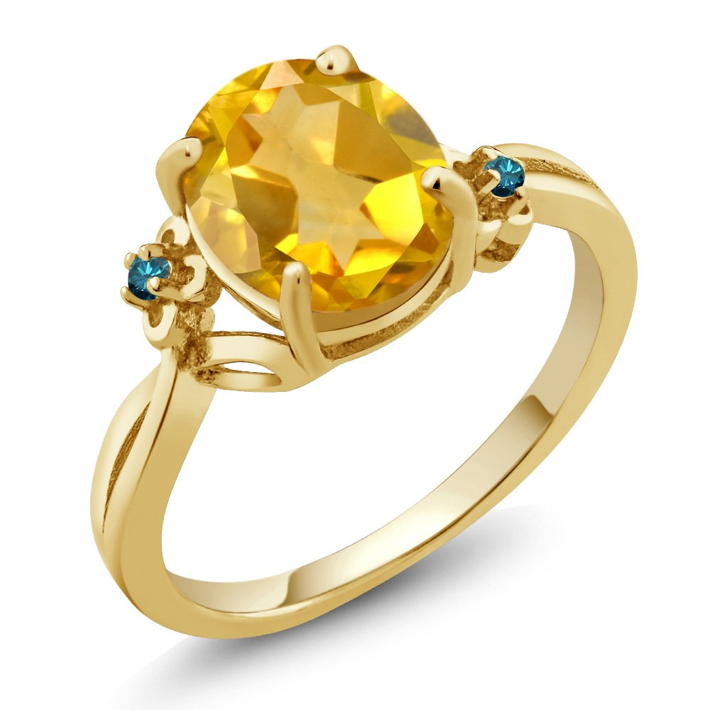 2.03 Ct Oval Yellow Citrine Blue Diamond 14K Yellow Gold Ring by Gem Stone King