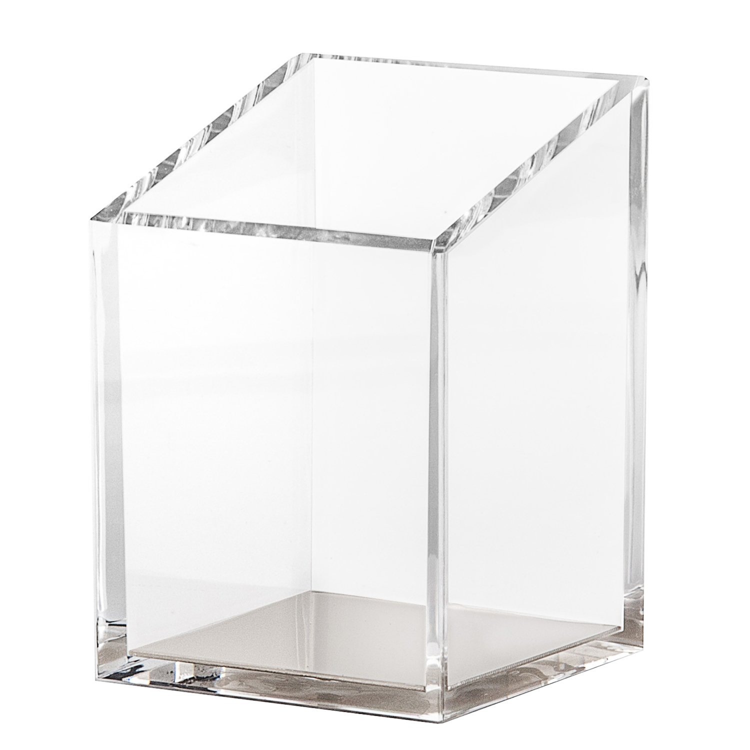 Acrylic & Silver Pencil and Pen Holder by OfficeGoods - A Classic Design to Brighten up Your Desk and Office