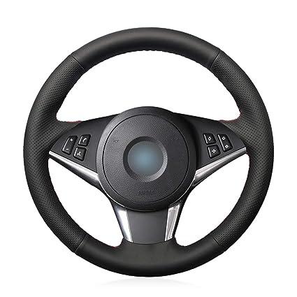 Swordsman Black Artificial Leather Car Steering Wheel Cover for BMW E60 530d 545i 550i E61 Touring