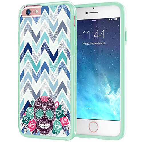 Mint 453 - True Color Case Compatible with iPhone 6s Plus Case, Sugar Skull &Roses on Chevron on Clear Transparent Hybrid Cover Hard +Soft Slim Thin Durable Protective Shockproof TPU Bumper -Mint